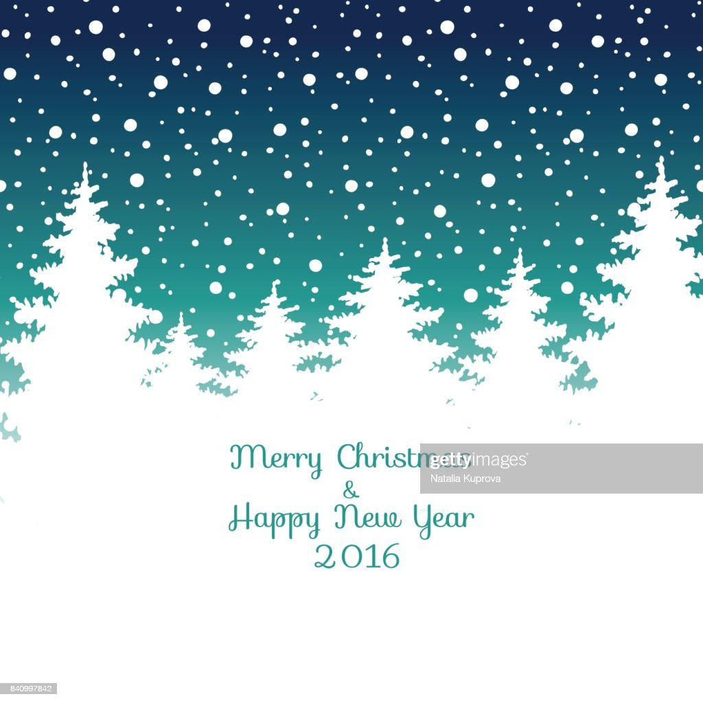 Merry Christmas and Happy New Year 2016  Christmas greeting card. Vector winter holidays landscape background with trees, snowflakes, falling snow.