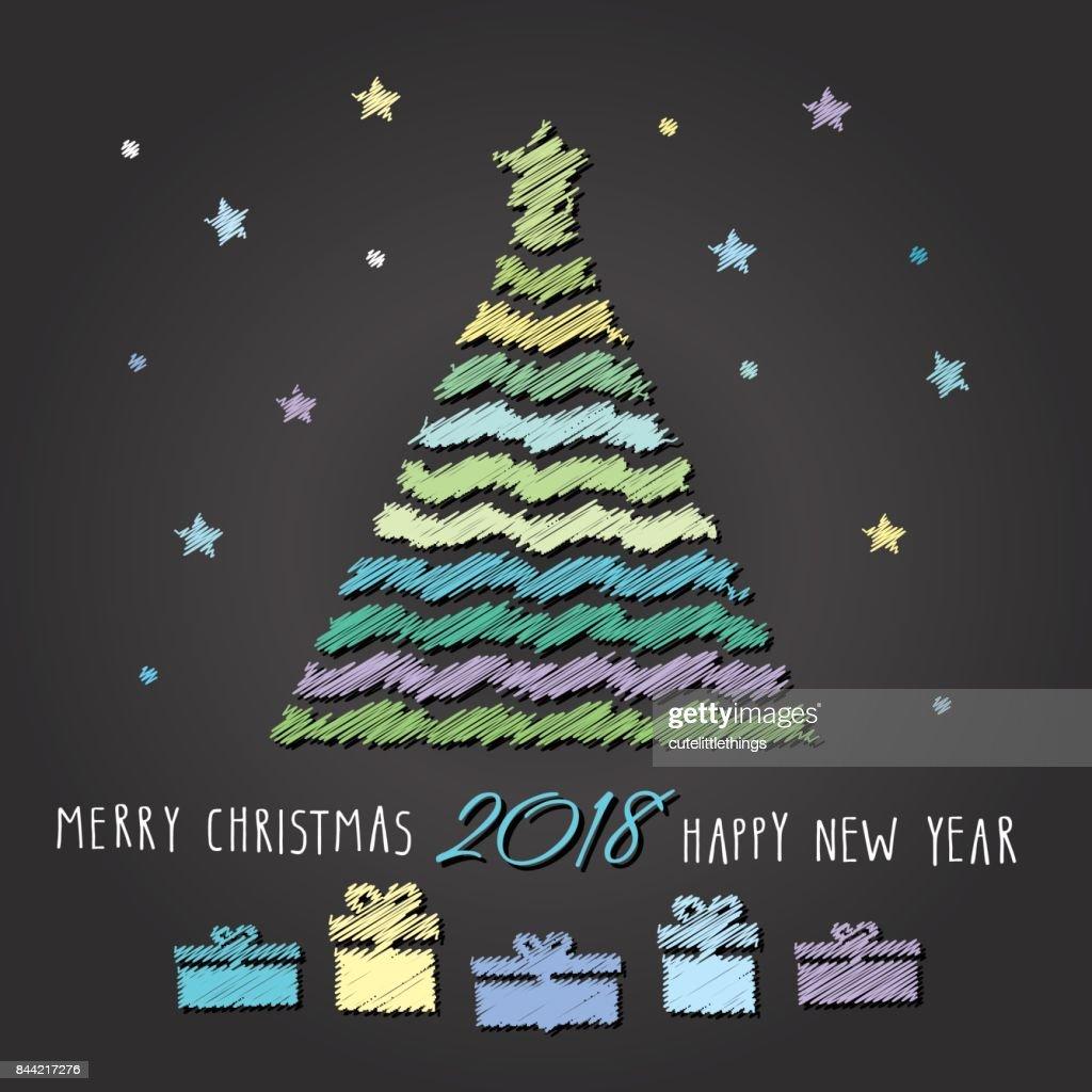 Frohe Weihnachten Und Happy New Year.Frohe Weihnachten Und Happy New Year 2018 Hintergrund Weihnachtsbaum
