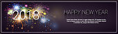 Merry Christmas And Happy New Year 2018 Banner Firework Winter Holidays Greeting Card Concept