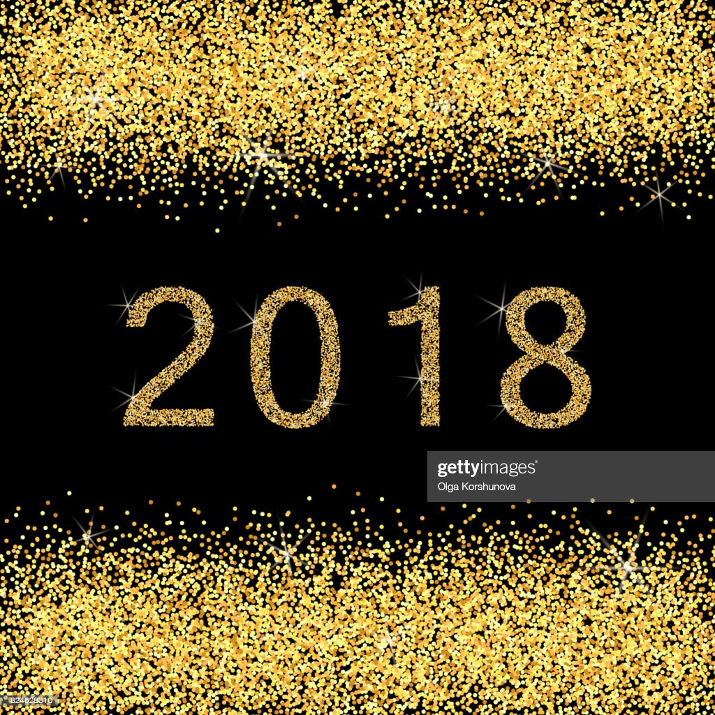 merry christmas and happy new year 2018 golden glitter card usa vector art