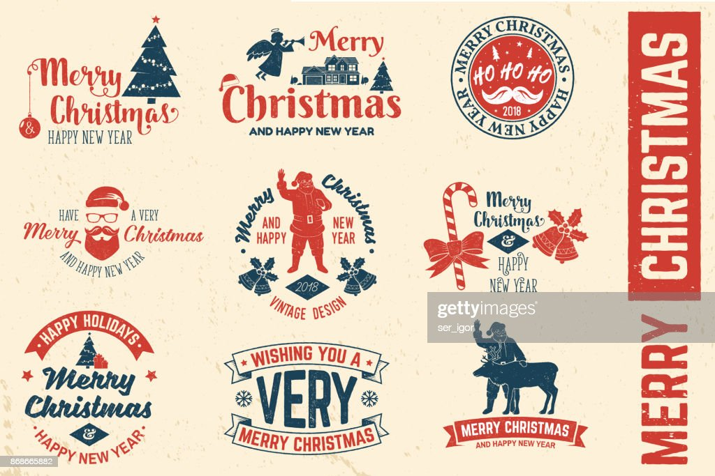 Merry Christmas and Happy New Year 2018 retro template with Santa Claus