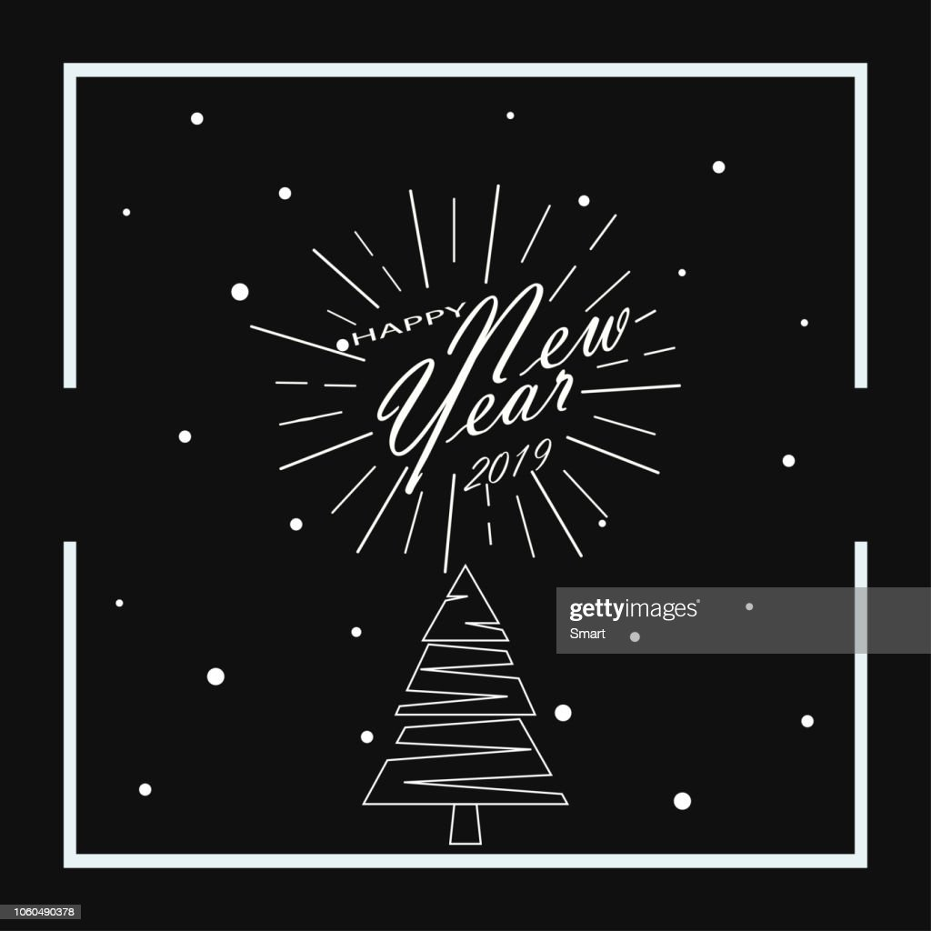 Merry Christmas and Happy New Year. 2019. Black background. Vector illustration