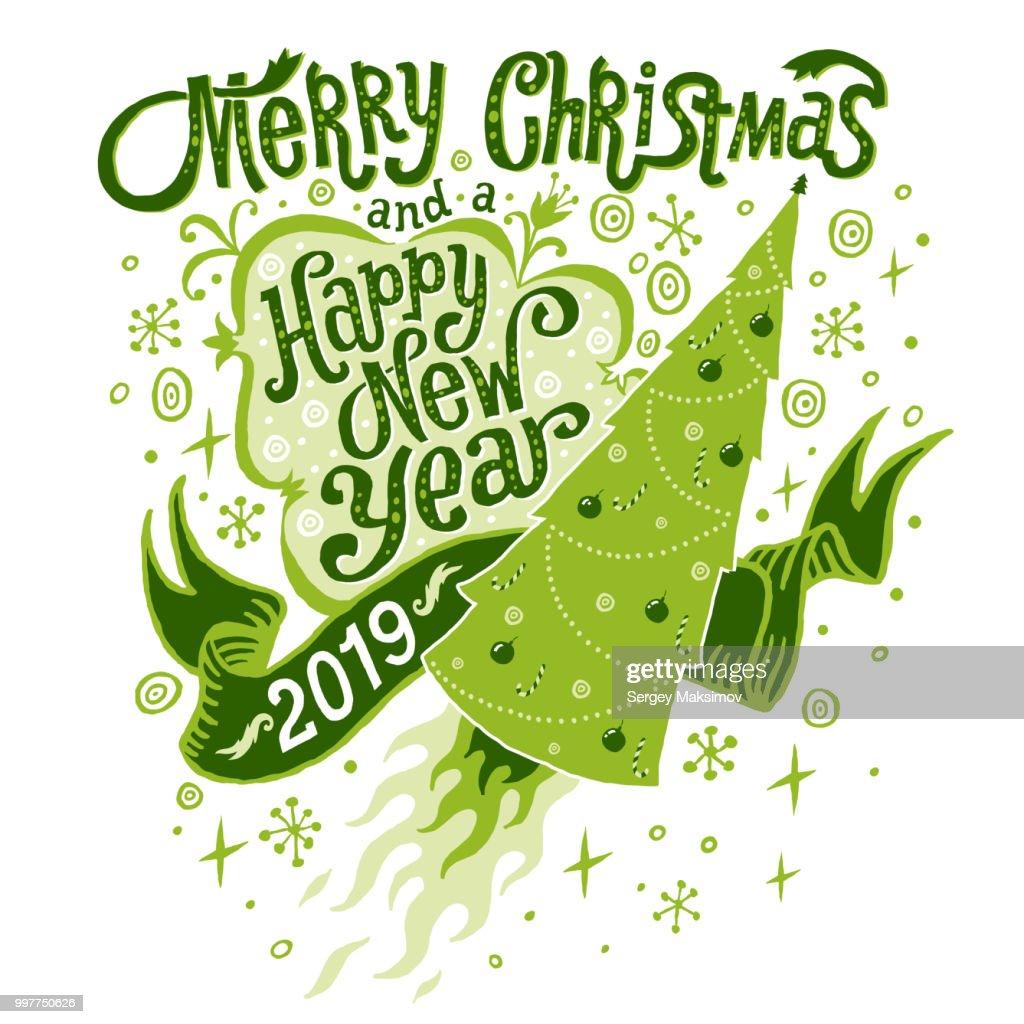 Frohe Weihnachten Und Ein Glückliches Neues Jahr 2019 Greeting Card ...