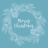 Merry Christmas and Happy New Year banner with fir branches