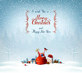 Merry Christmas and Happy New Year calligraphy inscription. Festive symbols on the Holiday background.