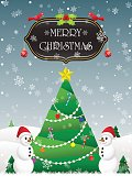 Merry Christmas and Happy New Year card background with Christma