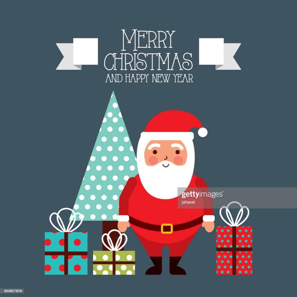 merry christmas and happy new year card santa and tree gifts