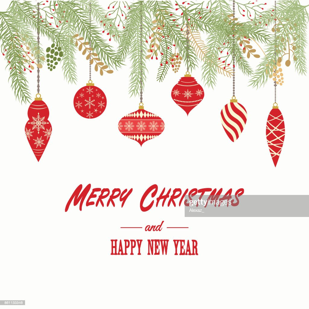 Merry Christmas And Happy New Year Cardchristmas Invitationgreeting Card With Christmas Ornaments Decorations Vector Illustration High Res Vector Graphic Getty Images