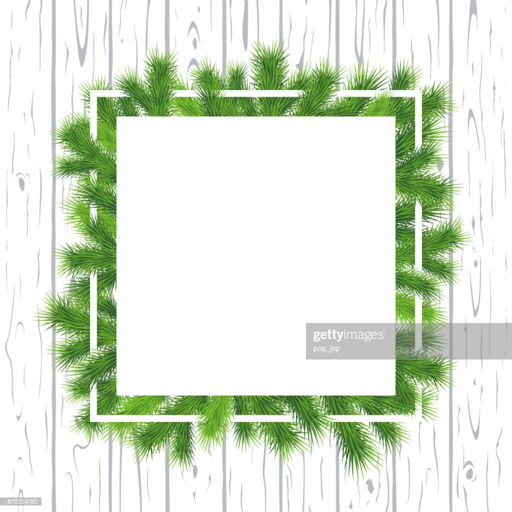 merry christmas and happy new year cartoon flat square empty frame banner with fir tree - Empty Frame