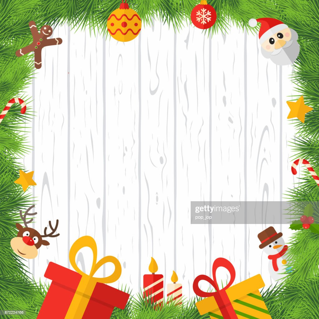 Merry Christmas And Happy New Year Cartoon Flat Square Empty Frame ...