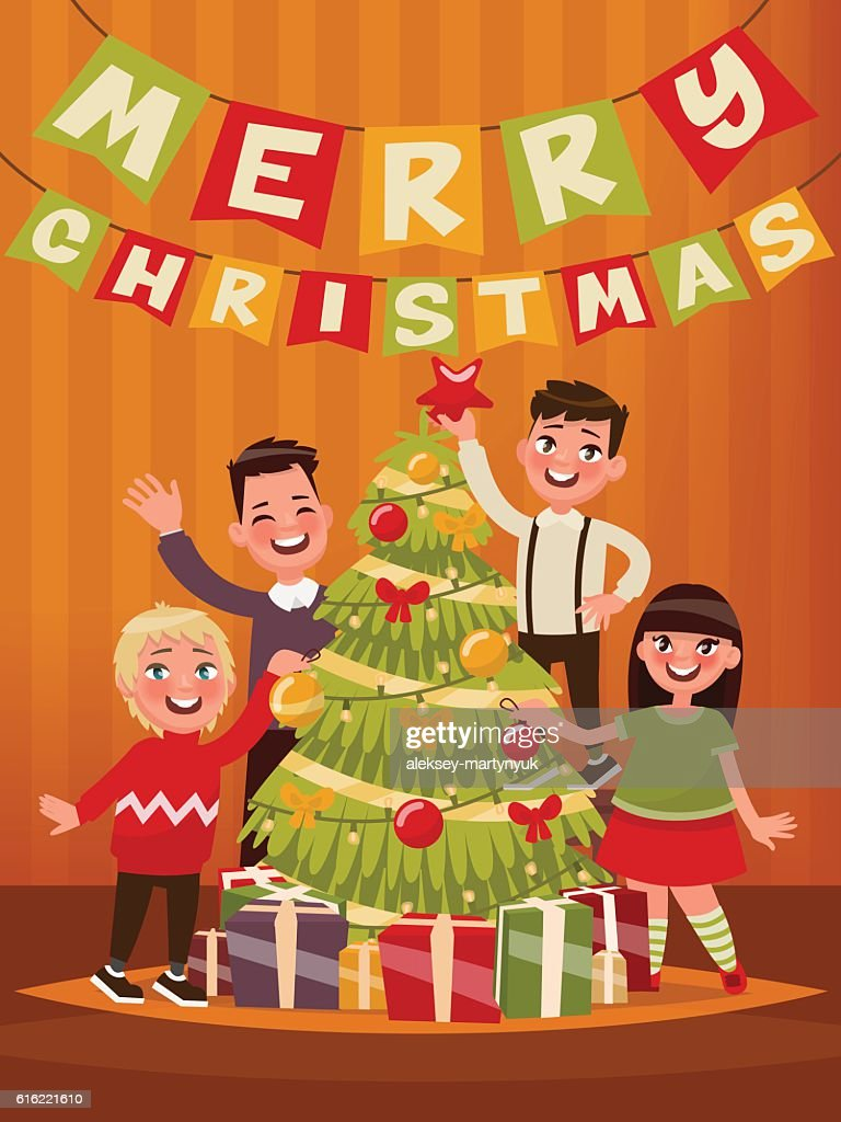Merry Christmas and Happy New Year. Children decorate the Christ : Vector Art