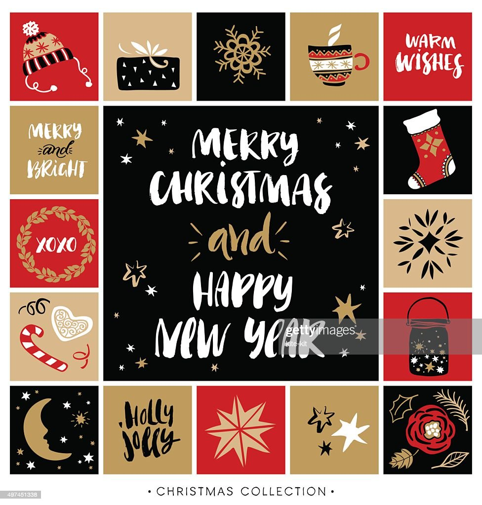Merry Christmas and Happy New Year. Christmas greeting card.