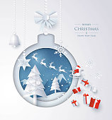 Merry Christmas and Happy New Year, Christmas tree, bell and snow in winter season,