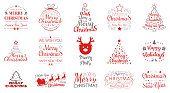 Merry Christmas and Happy New Year - collection of typography. Vector.