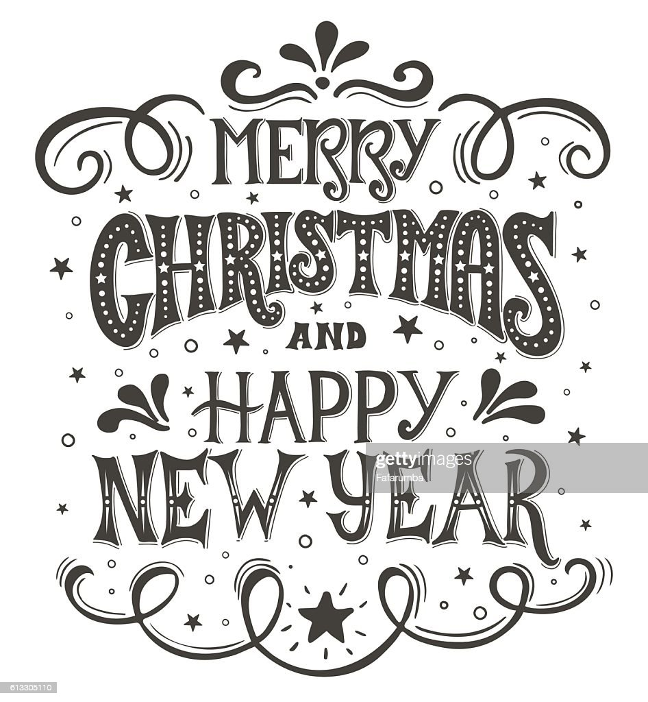 Merry Christmas And Happy New Year Conceptual Handwritten Phrase T ...