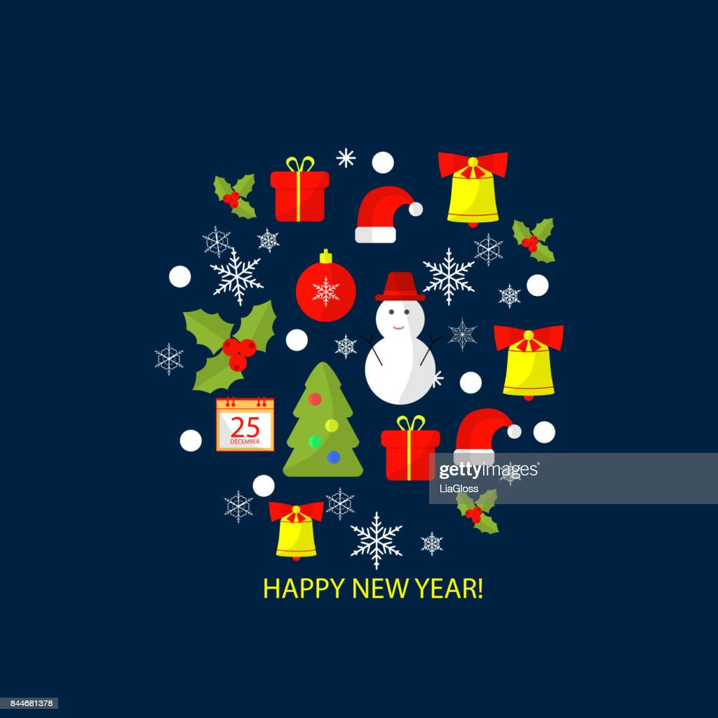 merry christmas and happy new year flat design background for greeting card invitation poster flyer