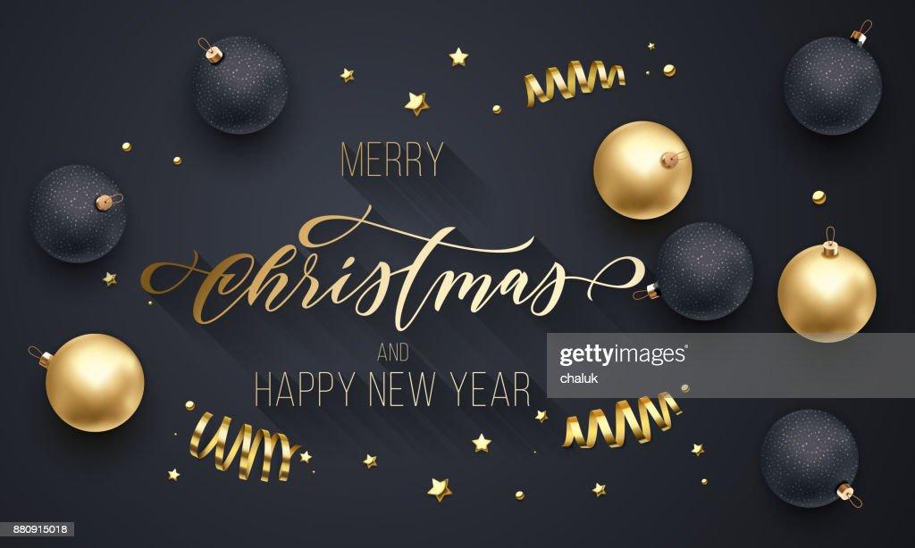 Frohe Weihnachten Und Happy New Year.Frohe Weihnachten Und Happy New Year Goldene Dekoration Hand