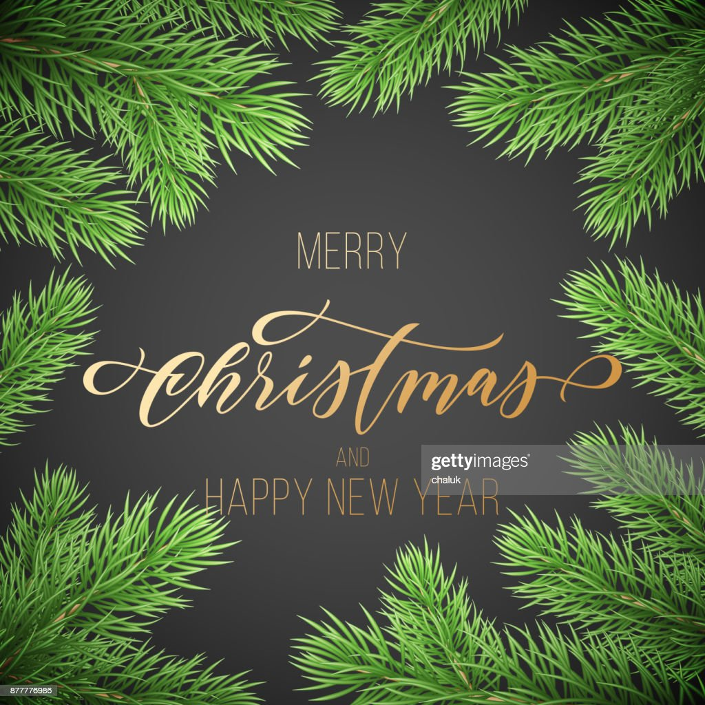 Merry Christmas And Happy New Year Golden Hand Drawn Quote