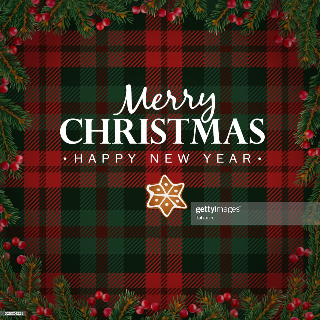 Merry Christmas And Happy New Year Greeting Card Christmas Plaid