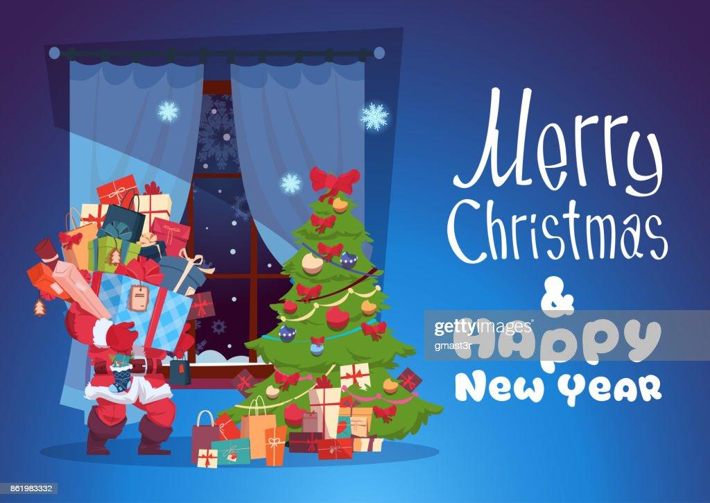 Frohe Weihnachten Und Ein Glückliches Neujahr Grußkarte Santa Mit ...