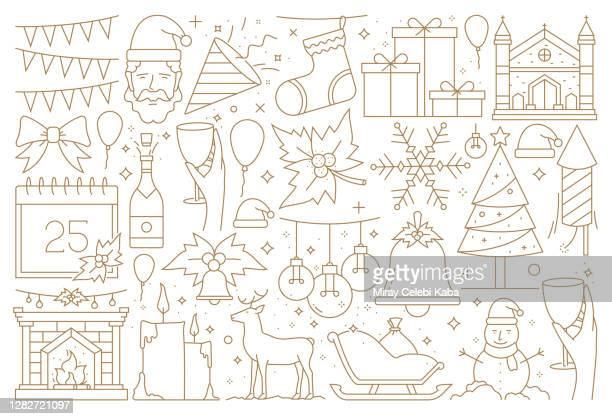 merry christmas and happy new year greeting card - christmas decore candle stock illustrations