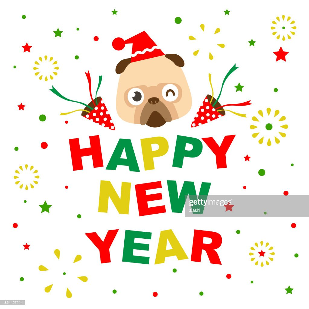 Merry Christmas And Happy New Year Greeting Card With Cute Dog ...