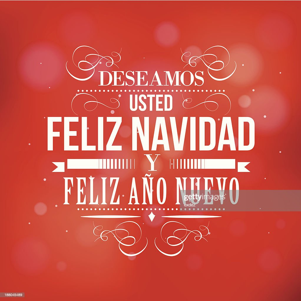 merry christmas and happy new year in spanish vector art
