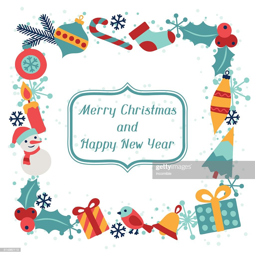 merry christmas and happy new year invitation card vector art