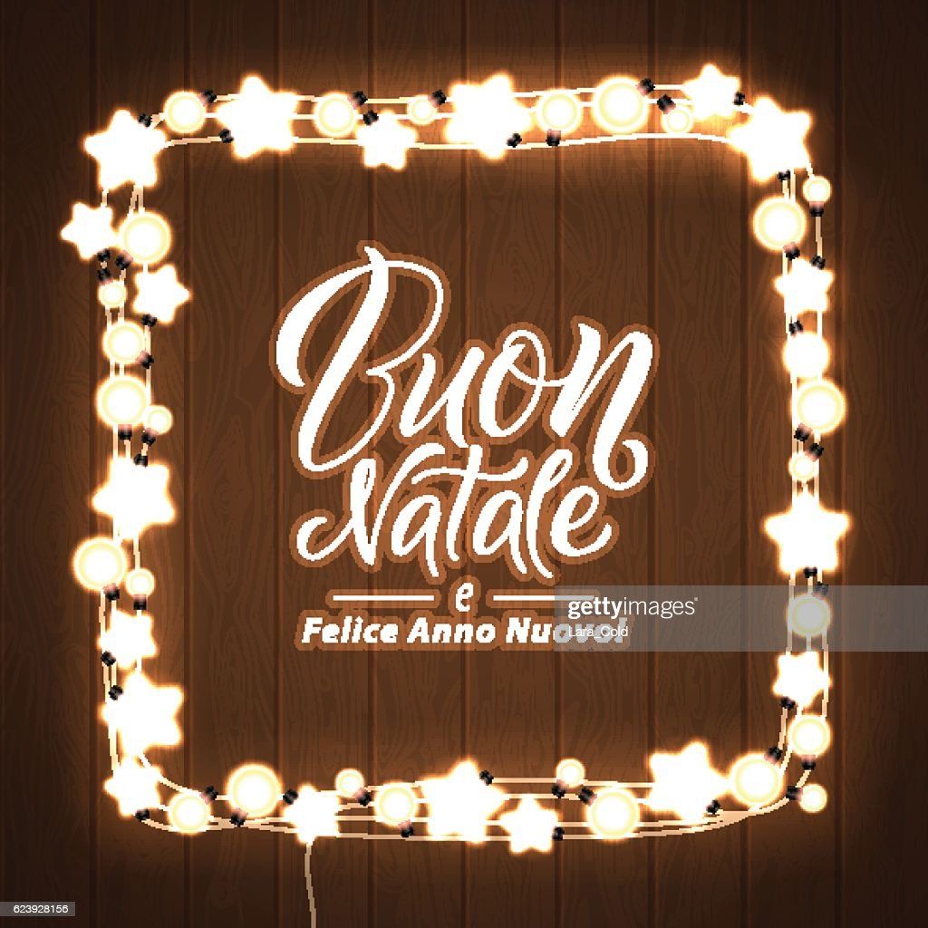 merry christmas and happy new year italian language glowing lights vector art
