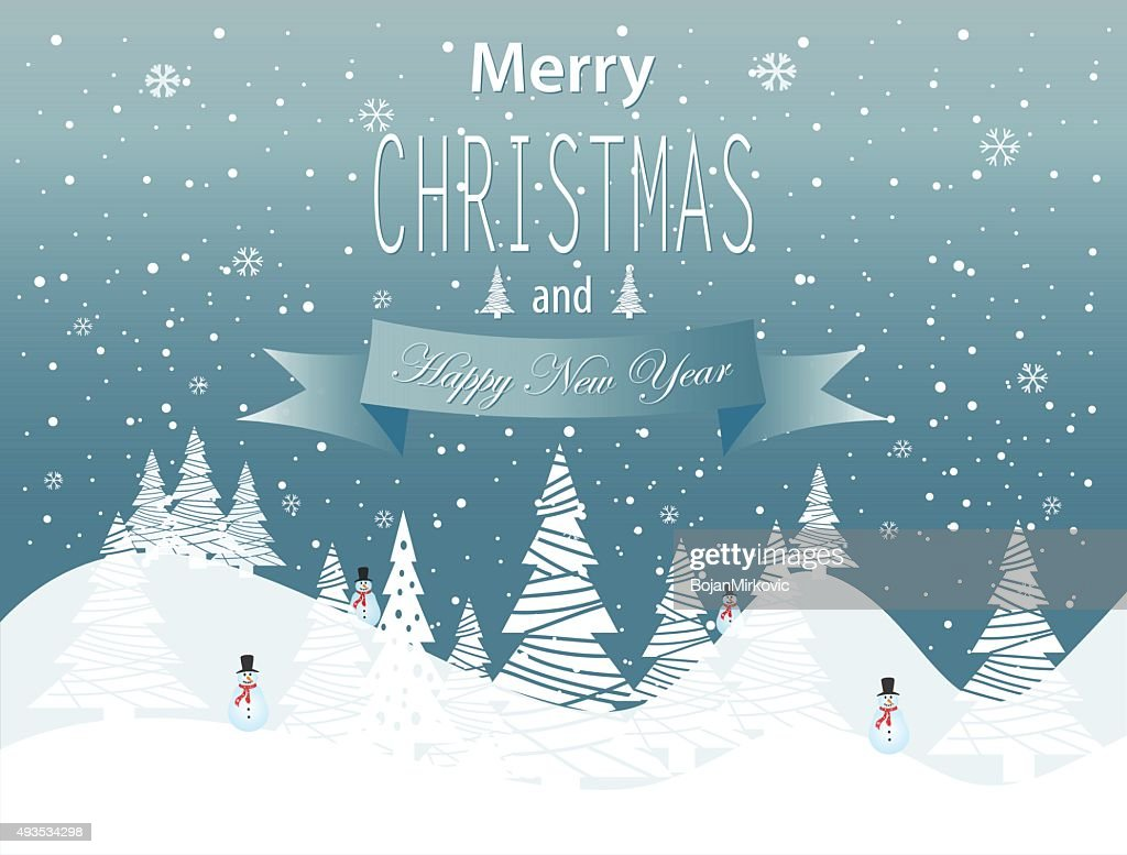 Merry Christmas and Happy New Year landscape on blue background