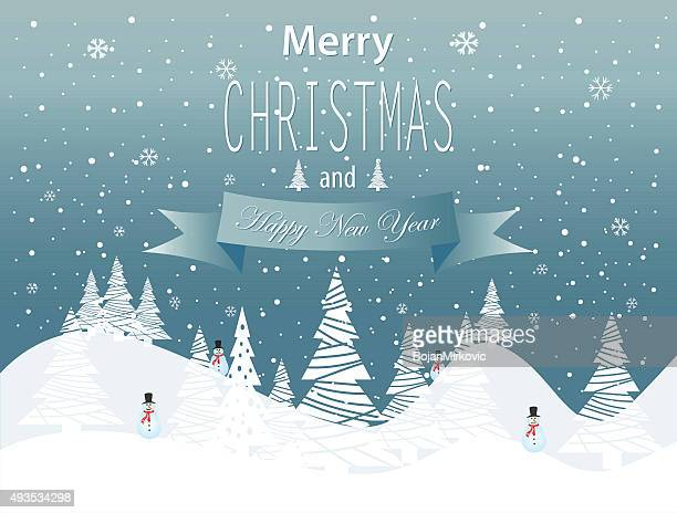 merry christmas and happy new year landscape on blue background - pine wood material stock illustrations, clip art, cartoons, & icons