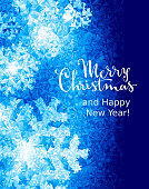 Merry Christmas and Happy New Year! Lettering on ice background