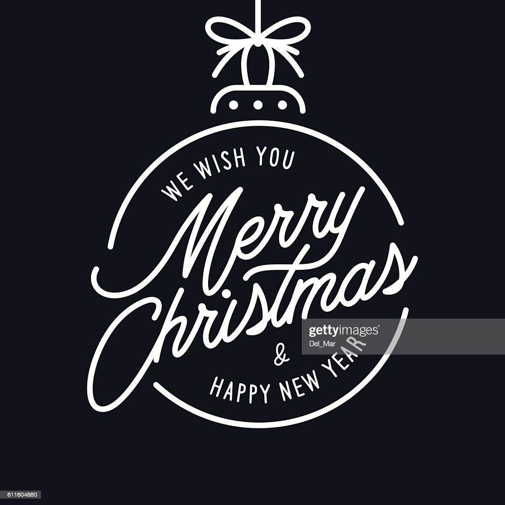 Merry Christmas and Happy New Year lettering template. Monochrome greeting