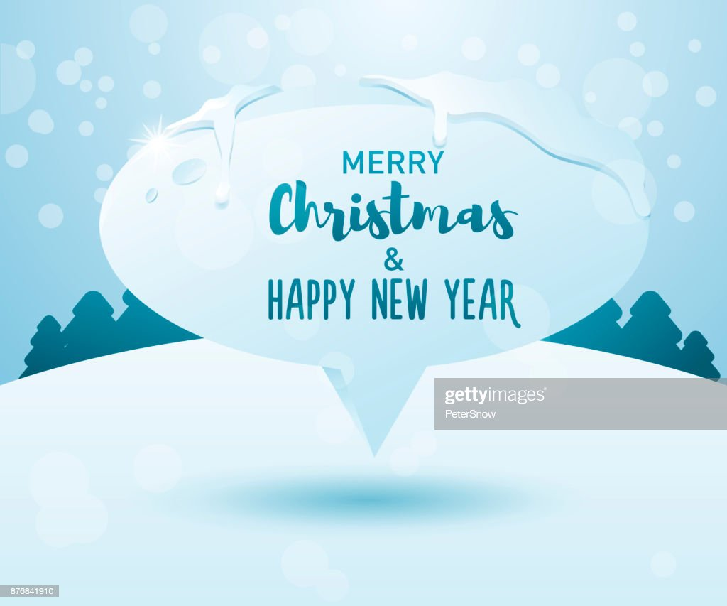 merry christmas and happy new year message on a frozen speech bubble on a winter landscape