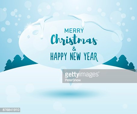 merry christmas and happy new year message on a frozen speech bubble on a winter landscape background vector illustration vector art getty images