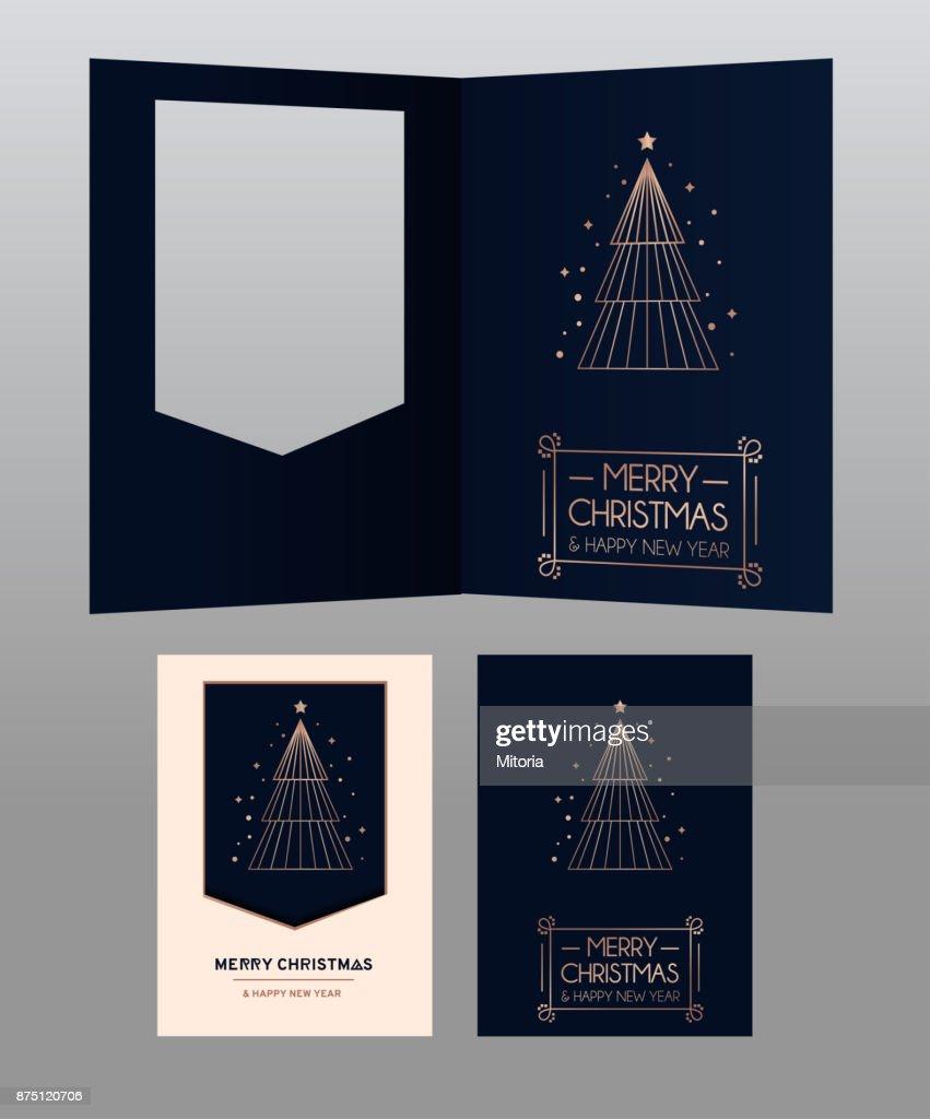Frohe Weihnachten Und Happy New Year Stieg Gold Grußkarte ...