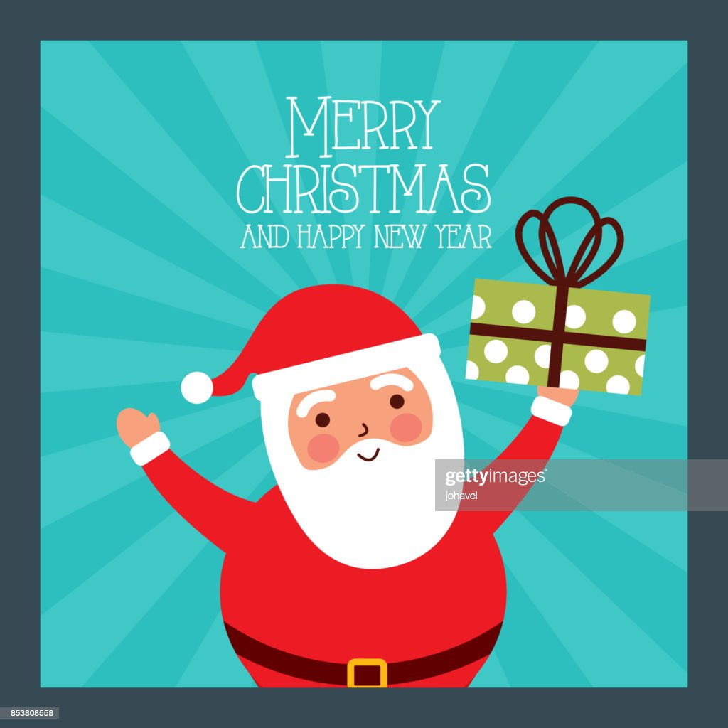 merry christmas and happy new year santa holding gift