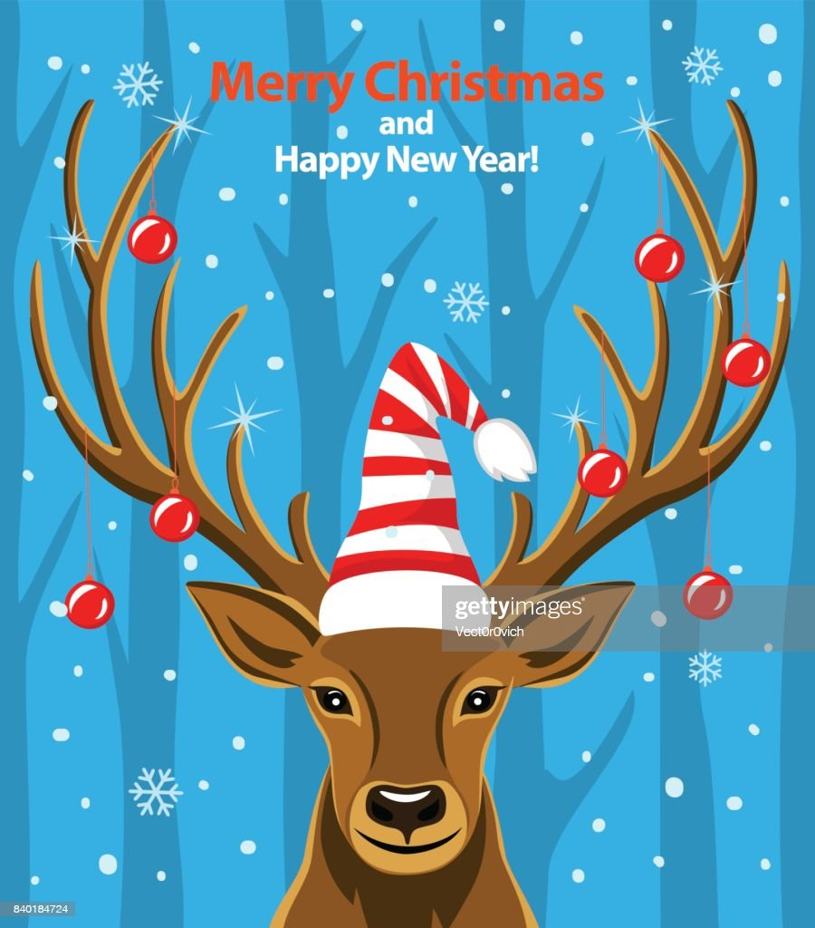 Merry Christmas And Happy New Year Seasonal Winter Greeting Card