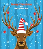 Merry Christmas and Happy New Year seasonal winter greeting card with deer