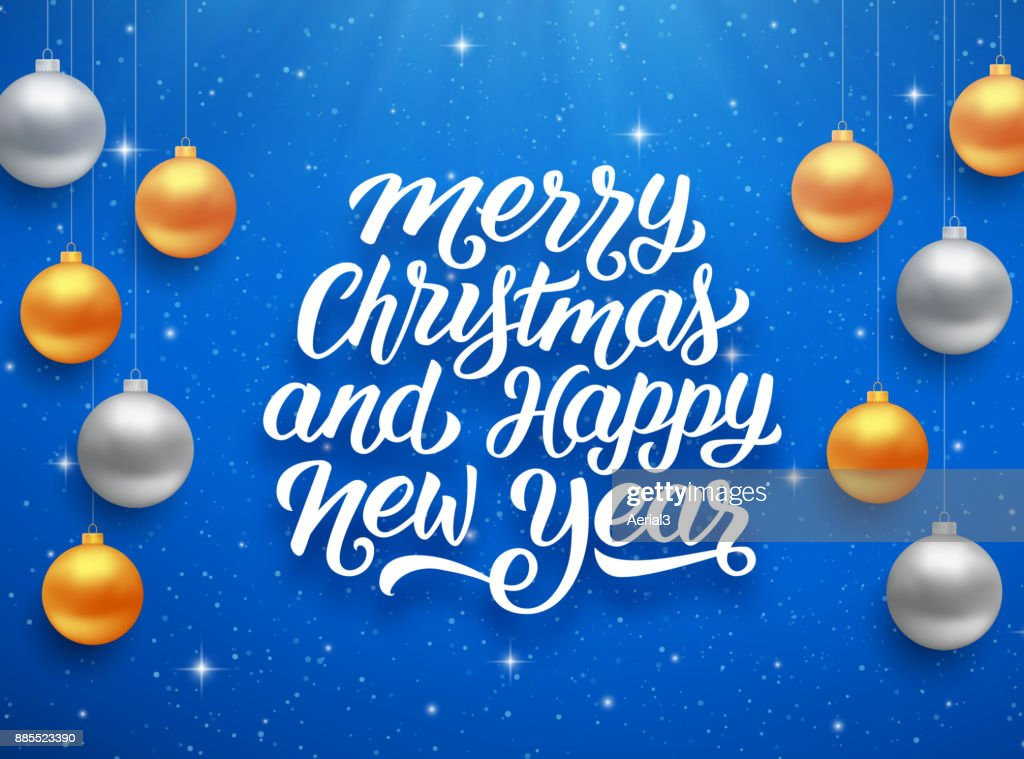 Merry christmas and happy new year seasons greetings text on blue merry christmas and happy new year seasons greetings text on blue background with sparkles and colorful m4hsunfo