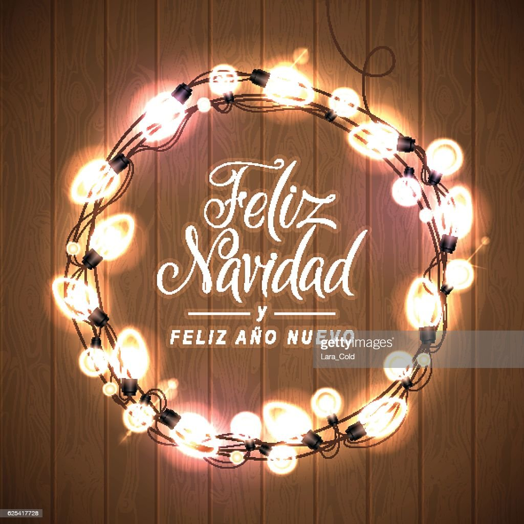 merry christmas and happy new year spanish language card vector art