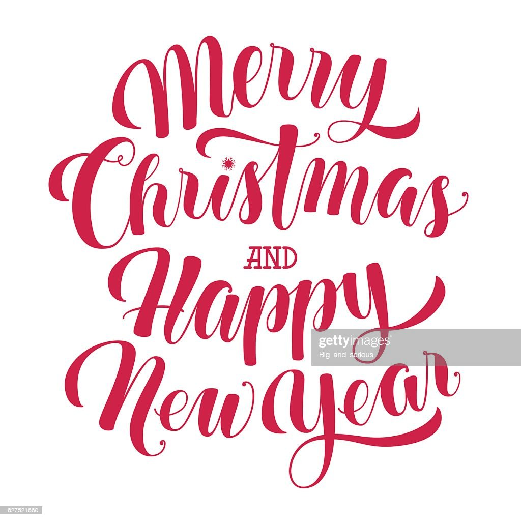 Merry Christmas and Happy New Year text, calligraphic vector illustration