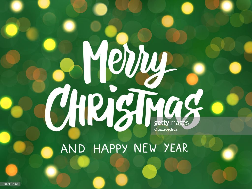 Frohe Weihnachten Und Happy New Year Text Hand Gezeichneten Schrift ...