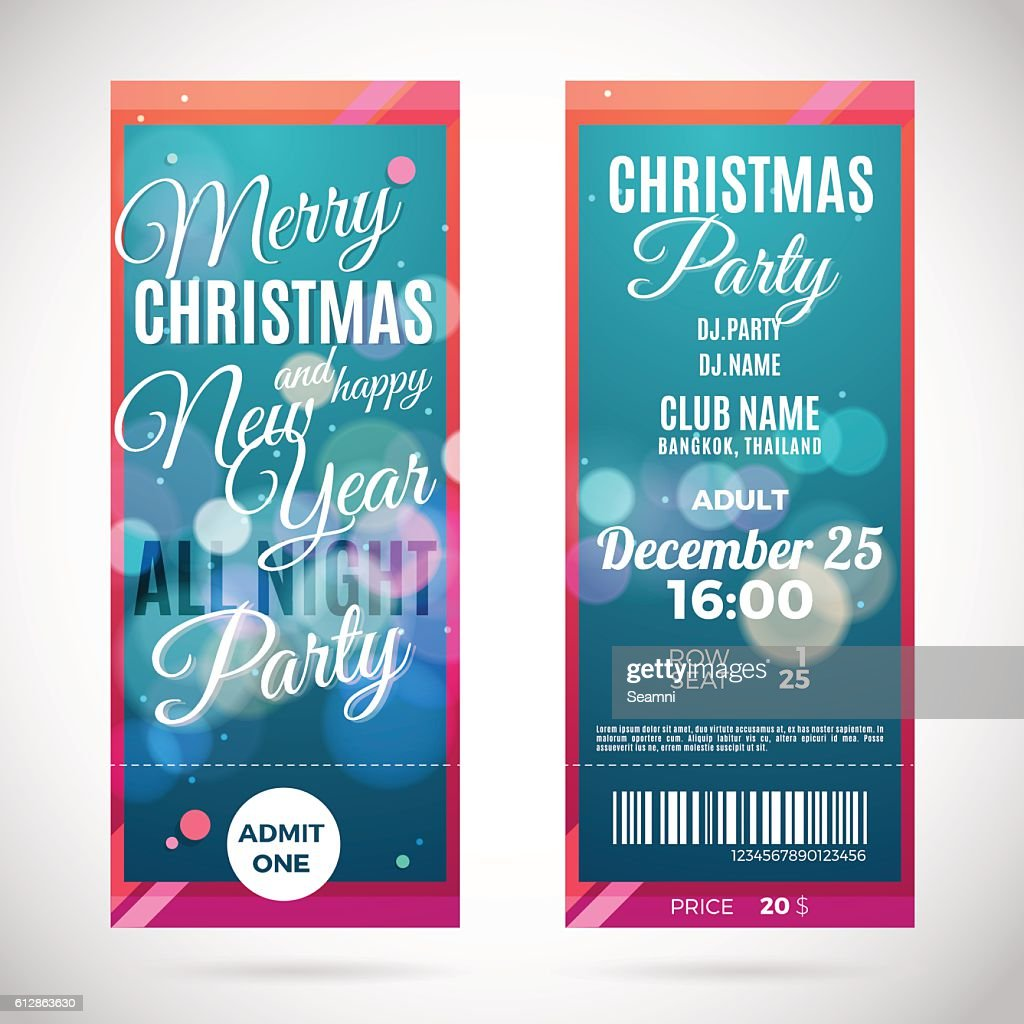 Merry Christmas and happy New Year ticket design, vector illustration
