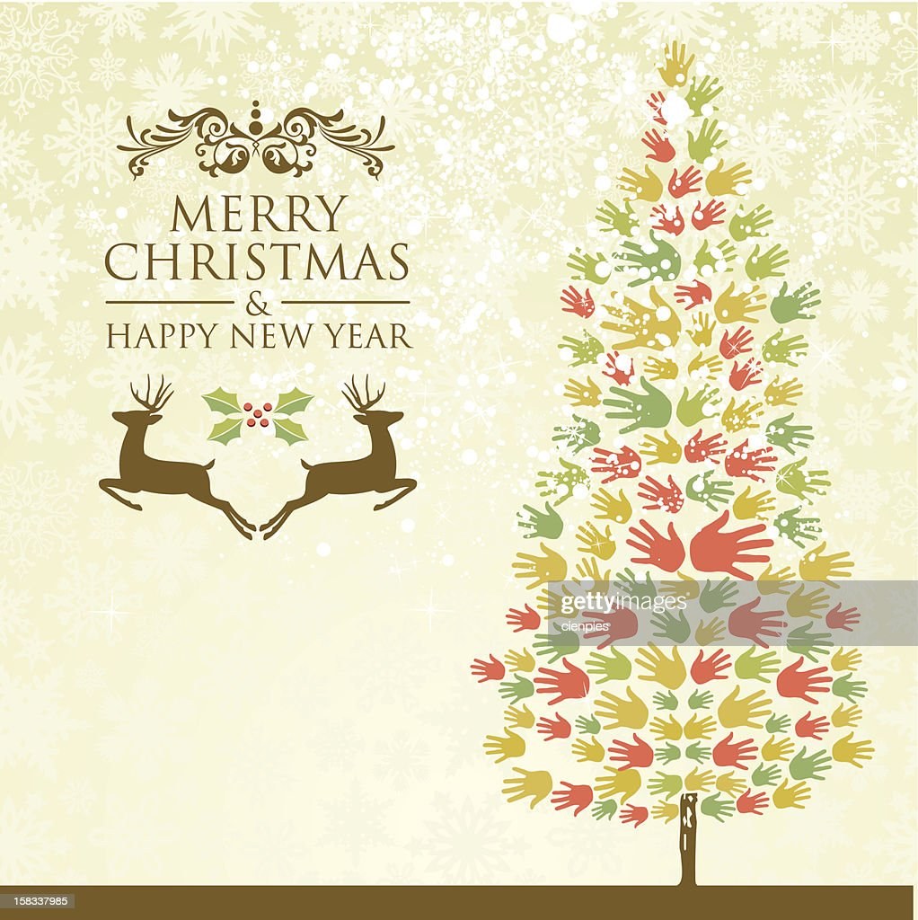 Merry Christmas And Happy New Year Tree Vector Art | Getty Images