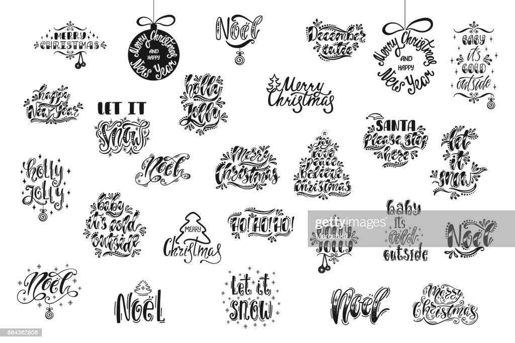 Merry Christmas and Happy New Year typography design. Hand drawn calligraphy text.  Black and white christmas greeting cards. Vector illustration EPS10