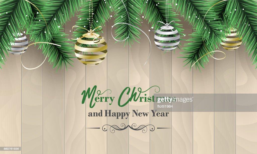 Frohe Weihnachten Und Happy New Year Vector Banner Als Wunsch Mit ...