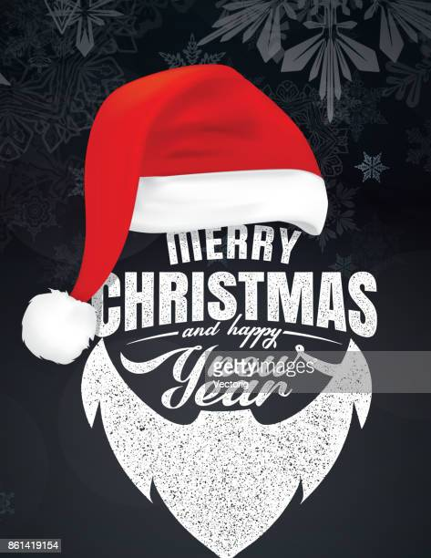 merry christmas and happy new year - hat stock illustrations