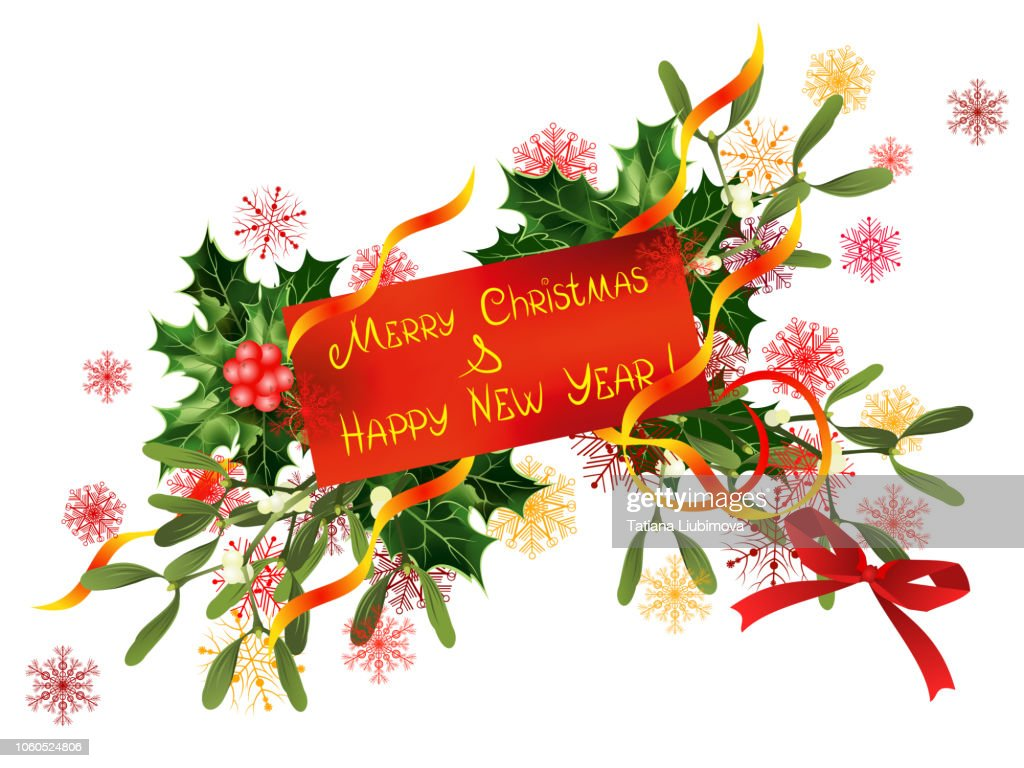 Merry Christmas and Happy New Year, vector illustration for greeting card design.