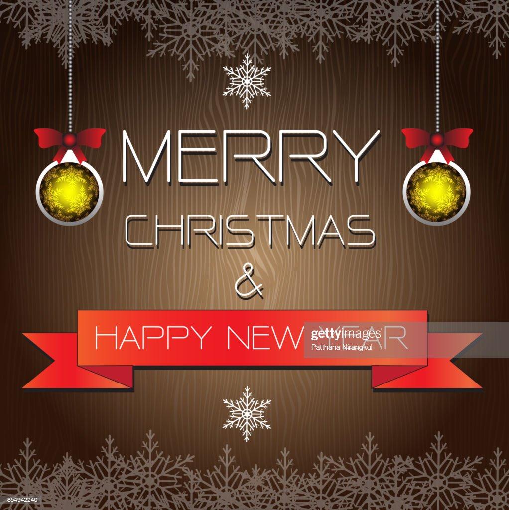 Frohe Weihnachten Und Happy New Year.Frohe Weihnachten Und Happy New Year Vektorillustration Auf Braun